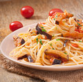 Spaghetti with fried eggplant and tomatoe tomatoes sweet sour sauce Royalty Free Stock Images