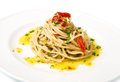 Spaghetti with garlic, oil and chilli Stock Image