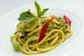 Spaghetti and green curry Royalty Free Stock Photo