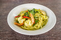 Spaghetti and green curry sauce Royalty Free Stock Photos