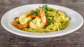 Spaghetti and green curry sauce Stock Image
