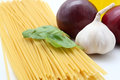 Spaghetti ingrediens neutral backgroun Royalty Free Stock Photography