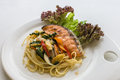 Spaghetti keemao salmon spaghetti with spicy salmon Royalty Free Stock Photos