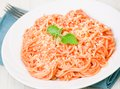 Spaghetti with ketchup and mayonnaise Stock Images