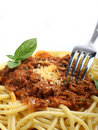 Spaghetti meal vertical Royalty Free Stock Image