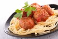Spaghetti and meatball close up on Stock Photos