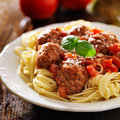 Spaghetti and meatballs with basil garnish close up photo of a plate of Royalty Free Stock Photography