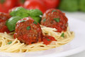 Spaghetti with meatballs noodles pasta meal on a plate Stock Photos