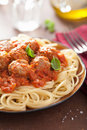 Spaghetti with meatballs in tomato sauce italian Royalty Free Stock Photo