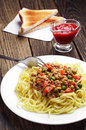 Spaghetti with minced meat Stock Image
