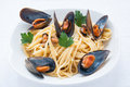 Spaghetti with mussels tomato and parsley Stock Photo