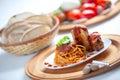 Spaghetti with Neaplolitan Ragu Sauce Stock Images