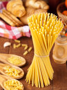 Spaghetti and noodle on table selective focus Stock Photo