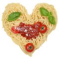 Spaghetti noodles pasta with heart isolated on a white background Stock Photos