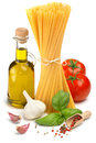 Spaghetti olive oil tomatoes and herbs bottle of Stock Images
