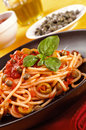 Spaghetti with olives and capers Royalty Free Stock Image