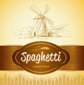 Spaghetti pasta bakery labels pack for spaghet windmill on the field Royalty Free Stock Photos