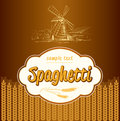 Spaghetti pasta bakery labels pack for spaghet windmill on the field Stock Photos