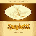 Spaghetti pasta bakery labels pack for spaghet windmill on the field Stock Photo