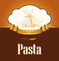 Spaghetti pasta bakery labels pack for spaghet windmill on the field bread Royalty Free Stock Images