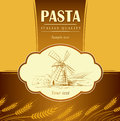 Spaghetti pasta bakery labels pack for spaghet windmill on the field bread Royalty Free Stock Photography