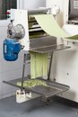 Spaghetti pasta being processed in automated green sheet machine at commercial kitchen Stock Photos