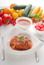 Spaghetti pasta with bolognese sauce Stock Images