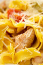 Spaghetti pasta with cheese, chicken and tomato Royalty Free Stock Photography