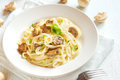 Spaghetti pasta with mushrooms Royalty Free Stock Photo