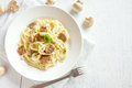 Spaghetti pasta with mushrooms Royalty Free Stock Photo