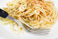 Spaghetti pasta with olive oil Stock Images