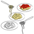 Spaghetti pasta + vector EPS file Stock Photo