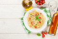 Spaghetti pasta and white wine Royalty Free Stock Photo