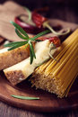 Spaghetti, Pecorino Cheese and Spices Stock Photos