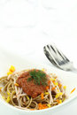 Spaghetti with peppers and ham Royalty Free Stock Images