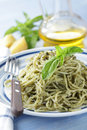 Spaghetti with pesto Royalty Free Stock Photo