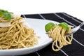 Spaghetti with pesto, basil and parmesan Stock Image