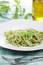 Spaghetti with pesto sauce Royalty Free Stock Images