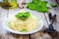 Spaghetti with pesto sauce and basil Royalty Free Stock Photo