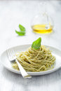 Spaghetti with pesto sauce italian Royalty Free Stock Photo