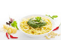 Spaghetti with pesto spicy and ingredients Royalty Free Stock Images
