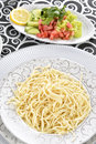 Spaghetti on the plate design background Stock Photos
