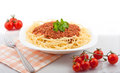 Spaghetti portion bolognese with tomatoes Royalty Free Stock Photos