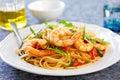 Spaghetti with prawn and tomato cherry rocket con gamberetti e rucola Royalty Free Stock Photo