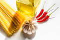 Spaghetti recipe preparation of the italian aglio olio e peperoncino garlic oil and chili Stock Photography