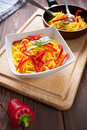 Spaghetti with saffron and Stock Image