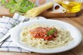 Spaghetti with salsa Stock Images