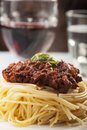 Spaghetti with sauce bolognese and basil Royalty Free Stock Photos