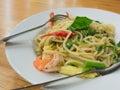 Spaghetti sauce drunken shrimp,shrimp focus Royalty Free Stock Photo