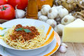Spaghetti served at the table served with cheese on a table Stock Photo